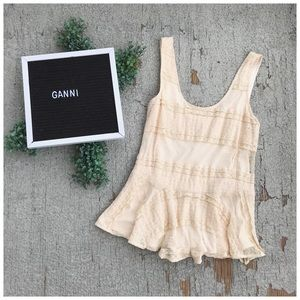 Anthro Ganni Lace Peplum Tank Top